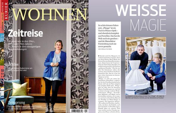 Titelseite des Magazins Wohnen aus Österreich, rechte Seite eine Veröffentlichung mit dem Plisago Tisch von Fürstenberg