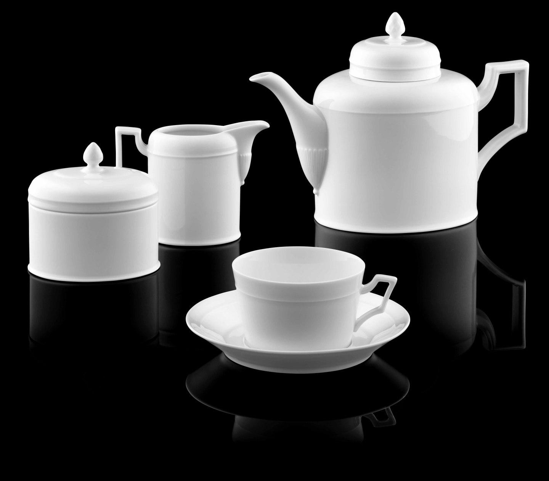 Teekanne, Zuckerdose, Gießer und Teetasse der Form HERZOG FERDINAND in weiß_FÜRSTENBERG Porzellan