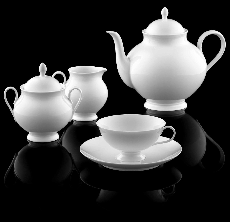 Teekanne, Zuckerdose, Gießer und Teetasse der Form VICTORIA LUISE in weiß_FÜRSTENBERG Porzellan