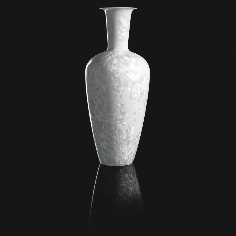 Vase mit Kristallglasur SOLITAIRE aus der Edition KOLLHOFF in polar white_FÜRSTENBERG Porzellan