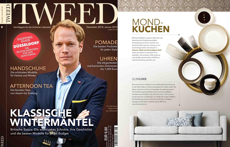 Titelseite und Innenseite des Magazins Tweed, Veröffentlichung von AURÉOLE CLAIR DE LUNE im Innenteil