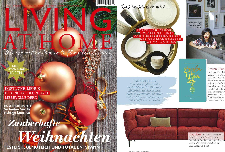Titelseite des Magazins Living at home mit FÜRSTENBERG Veröffentlichung auf der Innenseite der Form AURÉOLE mit dem Dekor CLAIR DE LUNE