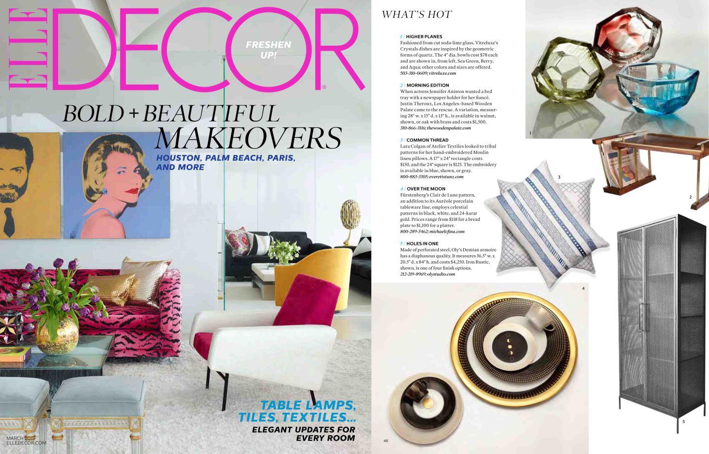 Titelseite des amerikanischen Magazins Elle Decor mit FÜRSTENBERG Veröffentlichung auf der Innenseite der Form AURÉOLE mit dem Dekor CLAIR DE LUNE