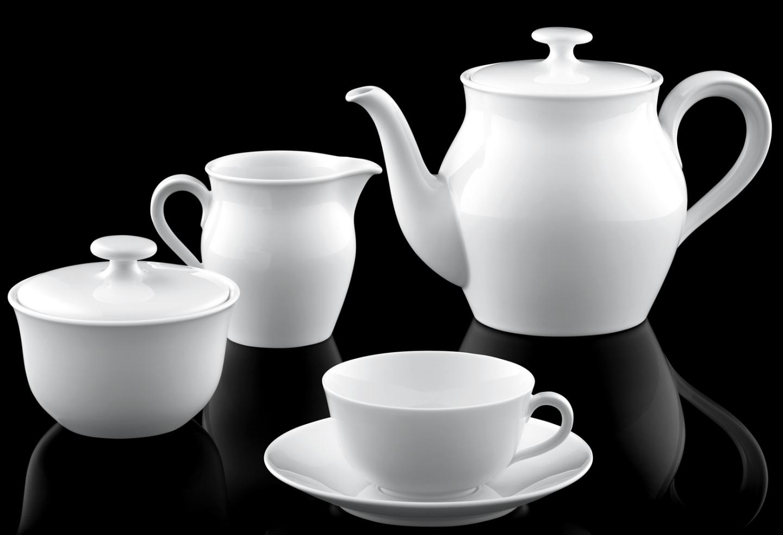 Teekanne, Zuckerdose, Gießer und Teetasse der FÜRSTENBERG Bauhausform WAGENFELD, gestaltet vom Bauhaus Pionier Wilhelm Wagenfeld