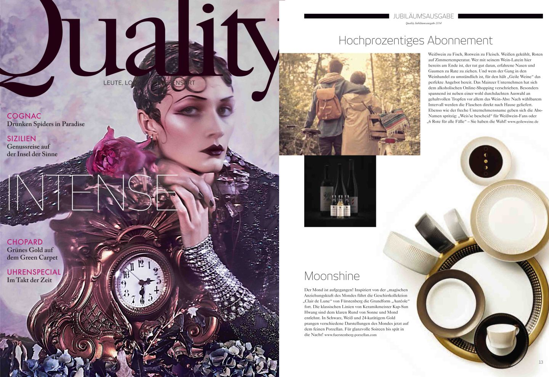 Titelseite des Magazins Quality mit Veröffentlichung der FÜRSTENBERG Form AURÉOLE mit dem Dekor CLAIR DE LUNE auf der Innenseite