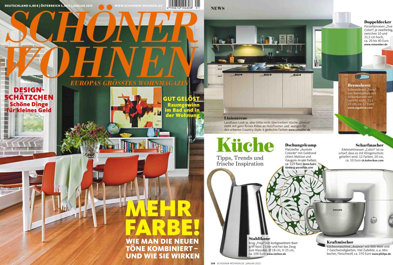 Titelseite und Innenseite des Magazins Schöner Wohnen mit einer Veröffentlichung der FÜRSTENBERG Serie AURÉOLE mit dem Dekor COLORÉE