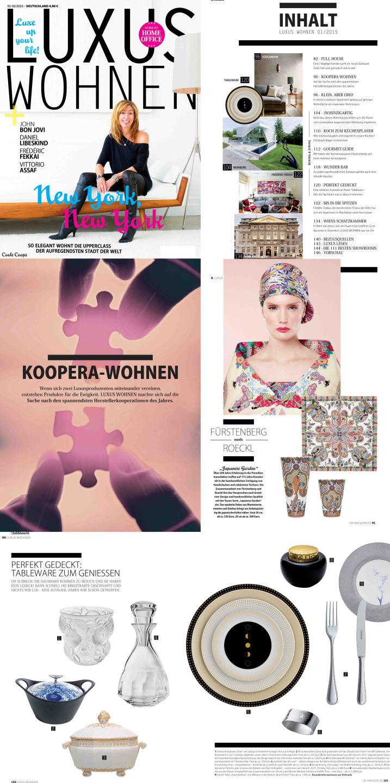 Titelseite und Innenseite des Magazins Luxus Wohnen mit einer FÜRSTENBERG Veröffentlichung der Roeckl Vasen JAPANESE GARDEN und der Form AURÉOLE mit dem Dekor CLAIR DE LUNE