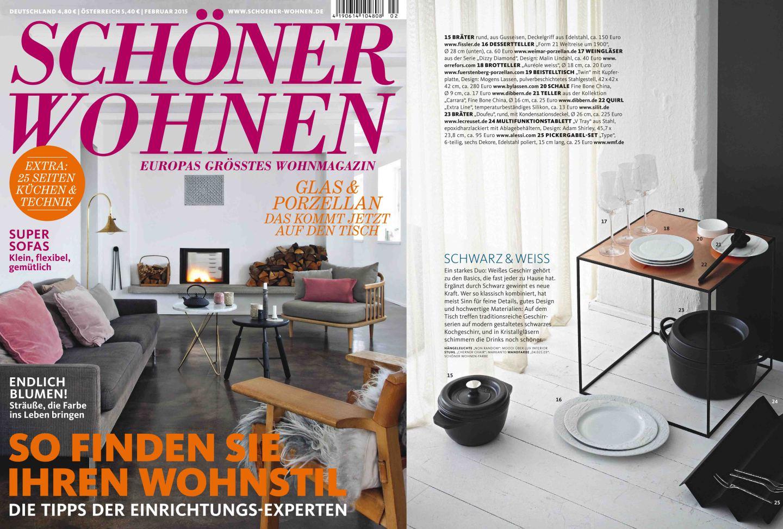 Titelseite und Innenseite des Magazins Schöner Wohnen mit einer Veröffentlichung der FÜRSTENBERG Form AURÉOLE in weiß