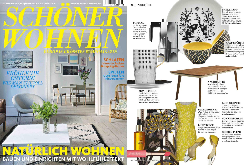 Titelseite und Innenseite des Magazins Schöner Wohnen mit einer Veröffentlichung der FÜRSTENBERG Serie AURÉOLE mit dem Dekor CLAIR DE LUNE