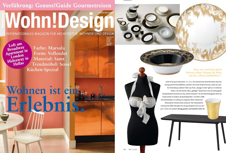 Titelseite und Innenseite des Magazins Wohn!Desig mit einer Veröffentlichung der Serie AURÉOLE mit dem Dekor CLAIR DE LUNE