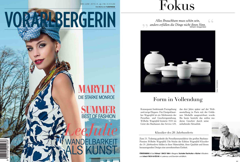 Titelseite des österreichischen Magazins Vorarlbergerin mit FÜRSTENBERG Veröffentlichung der Edition WAGENFELD auf der Innenseite