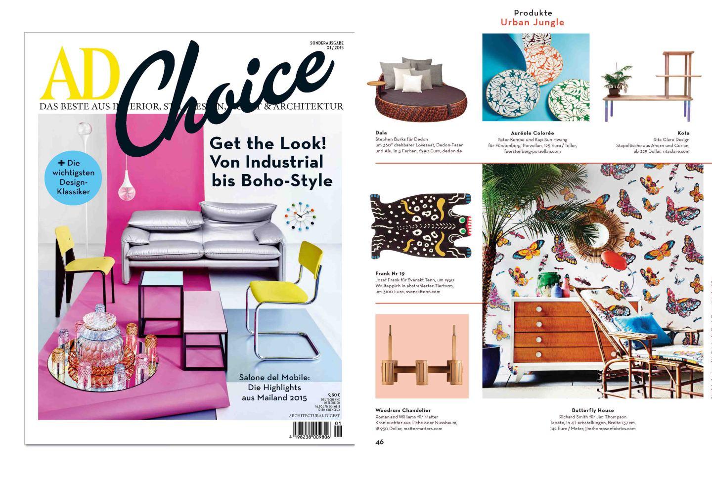 Titelseite der AD Choice, auf der Innenseite Veröffentlichung der FÜRSTENBERG Form AURÉOLE mit dem Dekor COLORÉE