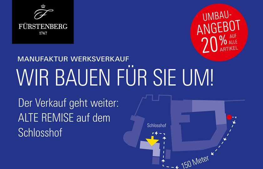 Plakat zum Umbau im Manufaktur Werksverkauf